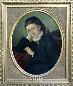 Portrait de Femme Epoque Napoléon III Ecole Française fin du XIXème siècle HST