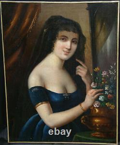 Portrait de Femme Epoque Second Empire Ecole Française XIXème siècle HST