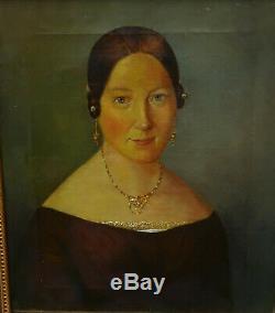 Portrait de Femme Huile sur Toile époque Louis Philippe XIXème siècle