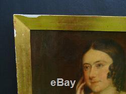 Portrait de Femme Huile sur Toile époque Napoleon III XIXème siècle
