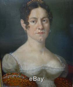 Portrait de Femme Mme Kayser Epoque Ier Empire XIXème Siècle HSP Alsace