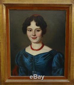 Portrait de Femme au diadème Epoque Charles X Ecole Française XIXème siècle HST
