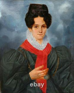 Portrait de Femme d'Epoque Charles X Ecole Française du XIXème siècle HST