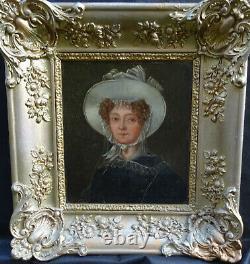 Portrait de Femme d'Epoque Charles X Ecole Française du XIXème siècle Huile/Tôle