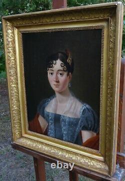 Portrait de Femme d'Epoque Ier Empire Ecole Française du début XIXème Siècle HST