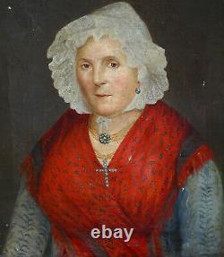 Portrait de Femme d'Epoque Louis Philippe Ecole Française du XIXème siècle HST