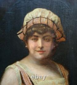 Portrait de Femme d'Epoque fin XIXème début XXème siècle Ecole Française HST
