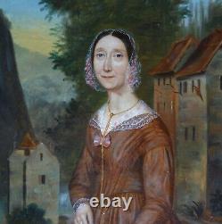 Portrait de Femme en extérieur Epoque Louis Phillippe début XIXème Siècle HST