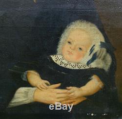 Portrait de Femme et son Enfant Epoque Second Empire HST XIXème siècle