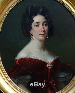 Portrait de Jeune Femme Epoque Charles X Ecole Française du XIXème siècle HST