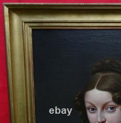Portrait de Jeune Femme d'Epoque Charles X Ecole Française du XIXème siècle HST