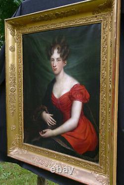 Portrait de Jeune Femme d'Epoque Louis XVIII Ecole Romantique XIXème siècle HST