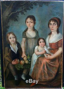 Portrait de famille Femme Epoque 1er Empire Hst début XIXème Siècle
