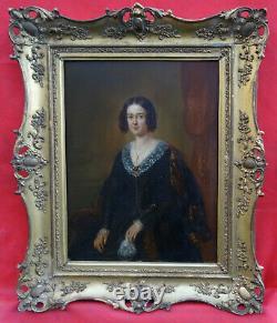 Portrait de femme Epoque Louis Philippe Ecole Française du XIXème Huile/Panneau
