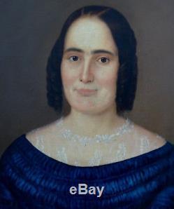 Portrait de femme Epoque Louis Philippe HST Ecole française XIXème siècle