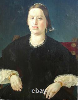 Portrait de femme Epoque restauration HST début XIXème siècle