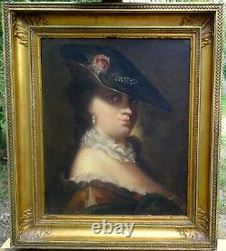 Portrait de femme au chapeau époque Louis XV école française du XIXème HsT