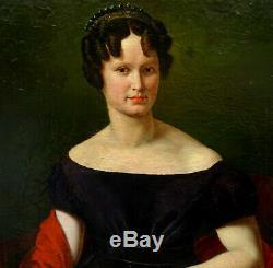 Portrait de femme au diadème époque Louis XVIII Huile sur Toile XIXème siècle