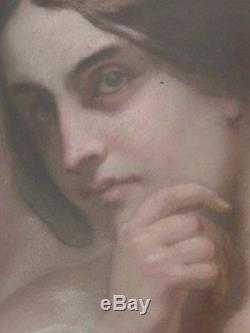 Portrait de femme en pastel époque XIXème