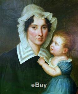 Portrait de femme et d'enfant Epoque Charles X HST Ecole française XIXème siècle