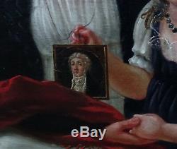 Portrait de femme et d'enfant Epoque Empire HST Ecole française XIXème siècle