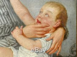 Portrait de femme et d'enfant Epoque Second Empire H/T XIXème siècle