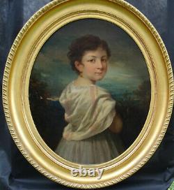 Portrait de jeune fille Epoque Louis Philippe Second Empire H/T du XIXème siècle