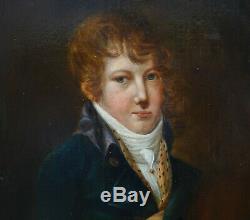 Portrait de jeune homme époque Premier Empire HST début XIXème siècle