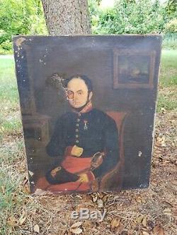 Portrait de militaire époque XIX ème s, huile sur toile