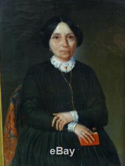 Portrait dr Femme Epoque Louis Philippe Ecole Française du XIXème HST