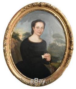 Portrait en médaillon jeune femme époque XIXème