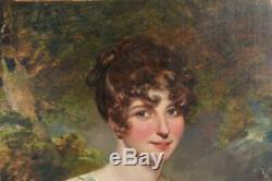 Portrait intitulé miss Johnson d'après Gainsborough époque début XIXème