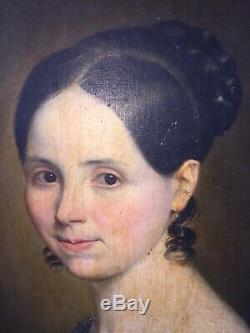 Portrait jeune femme Huile sur toile XIXème Époque Restauration