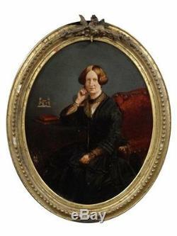 Portrait médaillon d'une femme époque fin XIXème