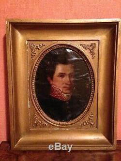Portrait militaire empire, époque début XIXème, huile sur toile clouée sur bois