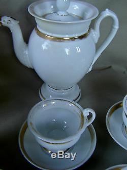 RARE SERVICE À CAFÉ PORCELAINE DE PARIS DÉCORS OR FIN ÉPOQUE EMPIRE DÉBUT XIXème