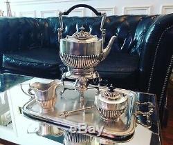 Rare Samovar/Service à thé Anglais époque Victorienne en Métal Argenté XIX ème
