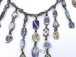 Rare collier draperie ancien avec nombreuses médailles émaillées époque XIXeme