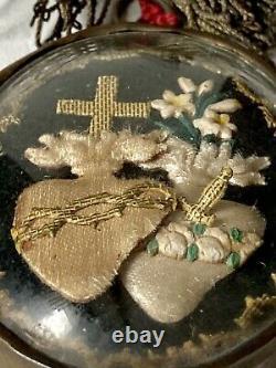 Religiosa Reliquaire Ex-Voto Sacré-Cur Cur Immaculé Jésus Marie Époque XIX ème