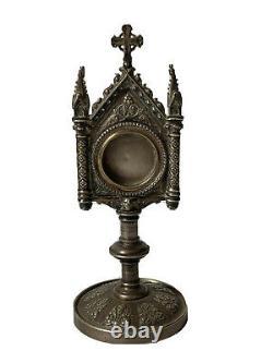Reliquaire Métal Argenté Néogothique Dévotion Époque XIX ème Antique Reliquary