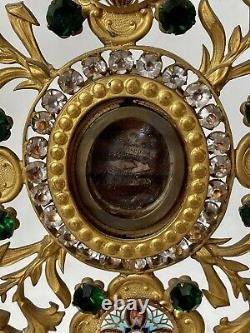 Reliquaire-Ostensoir Monstrance Strass & Émaux Église & Liturgie Époque XIX ème