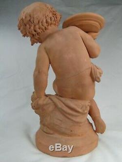 SPL. SCULPTURE TERRE CUITE PUTTI ENFANT CARRIER-BELLEUSE ED. D'EPOQUE XIXème
