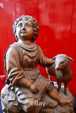 STATUE RELIGIEUSE EN BOIS SCULPTÉ DE SAINT-JEAN ÉPOQUE XIXème SIÈCLE RELIGIOSA