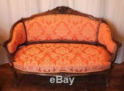 Salon style Louis XV noyer un canapé deux bergères époque XIX ème siècle