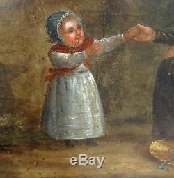 Scène de genre Epoque Louis Philippe Huile sur panneau XIXème siècle