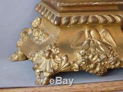 Sculpture En Bois Doré, Grand Ange d'Autel En Prière Sur Socle, époque XIX ème