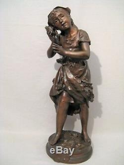 Sculpture bronze signée Adrien Gaudez écho époque XIX ème siècle