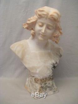 Sculpture en albâtre buste de femme époque fin XIX ème siècle