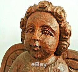 Sculpture en bois de chêne, époque XIX ème, Ange protecteur des marins. 42 cm