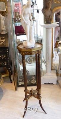 Sellette De Style Louis XVI Avec Bronze Et Plateau De Marbre, époque XIX ème